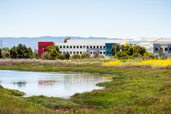 May 8, 2018 Menlo Park / CA / USA - Facebook Headquarters on the shoreline of San Francisco bay area, Silicon Valley royalty free stock photo