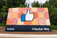 May 26, 2019 Menlo Park / CA / USA  - The Facebook Like Button sign located at the entrance to the company`s main headquarters stock photography