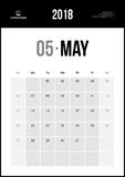 MAY 2018. Minimalist Wall Calendar. Modern and Clean Minimalist Wall Calendar Royalty Free Stock Photography