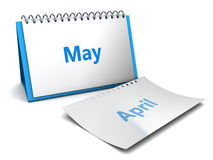 May month. 3d illustration of folding calendar with may month page vector illustration