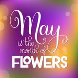 May is the month of flowers lettering. Elements for invitations, posters, greeting cards. Seasons Greetings Royalty Free Stock Photos