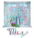 May month. Gardening theme - watering can, gloves and flowers for planting royalty free illustration