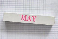 May. Month printed on wooden block Royalty Free Stock Image
