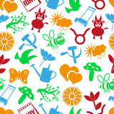 May month theme set of simple icons seamless pattern eps10 Stock Photography