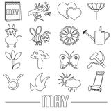 May month theme set of simple outline icons eps10 Stock Photography