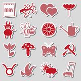 May month theme set of simple red and pink stickers eps10 Royalty Free Stock Photos