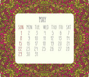 May 2016 monthly calendar. May 2016 vector monthly calendar over lacy doodle hand drawn background, week starting from Sunday Royalty Free Stock Photos