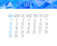 May 2016 monthly calendar Stock Photography