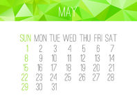 May 2016 monthly calendar Royalty Free Stock Photo