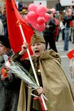 9 MAY 2008 Moscow. Woman veteran of World War 2 during the festivel demonstration on the day of victory Royalty Free Stock Images