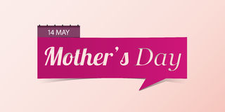 14 May Mother's Day banner isolated on yellow background.. Banner design template in paper cutting art style. Vector illustration Stock Photography