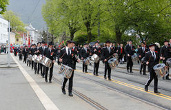 May 17, 2016: National day in Norway. BERGEN / NORWAY - May 17, 2016: National day in Norway. Norwegians at traditional celebration and parade Royalty Free Stock Photos