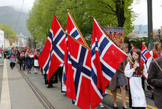 May 17, 2016: National day in Norway. BERGEN / NORWAY - May 17, 2016: National day in Norway. Norwegians at traditional celebration and parade Stock Photography