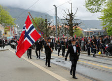 May 17, 2016: National day in Norway. BERGEN / NORWAY - May 17, 2016: National day in Norway. Norwegians at traditional celebration and parade Royalty Free Stock Image