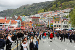 May 17, 2016: National day in Norway. BERGEN / NORWAY - May 17, 2016: National day in Norway. Norwegians at traditional celebration and parade Royalty Free Stock Photo
