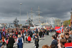 May 17, 2016: National day in Norway. BERGEN / NORWAY - May 17, 2016: National day in Norway. Norwegians at traditional celebration and parade Stock Image