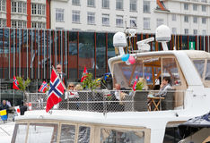 May 17, 2016: National day in Norway. BERGEN / NORWAY - May 17, 2016: National day in Norway. Norwegians at traditional celebration and parade Royalty Free Stock Photography