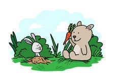 Mały niedźwiedź & królik Obrazy Royalty Free