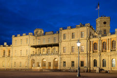 May night at the entrance to the Grand Gatchina Palace. Gatchina, Russia Stock Images