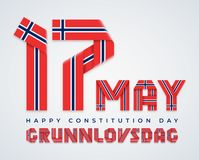 17 May, Norway Constitution Day congratulatory design with Norwegian flag colors. Vector illustration. Congratulatory design for 17 May, Norway Constitution Day vector illustration