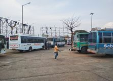 Bus stand of Sambalpur city. May 2018, Odisha - Different buses at Sambalpur bus stand royalty free stock images