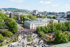 17 may oslo norway celebration top view on street Royalty Free Stock Images