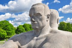 Famous statues of Vigeland, or Frogner, park in Oslo. MAY 2015, OSLO NORWAY: Famous Vigeland park, or Frogner park, statues and architecture Royalty Free Stock Images