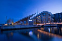 May 7 2016, Oslo, Norway a few traveller sight seeing at Aker bridge. In Oslo, Norway (Long exposure photography Stock Photo