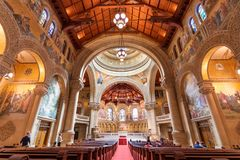 May 9, 2019 Palo Alto / CA / USA - Interior view of the Memorial Church at Stanford stock images