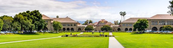 May 9, 2019 Palo Alto / CA / USA - Panoramic view of the Stanford Oval and the Main Quad stock photo