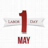 May 1 Paper Label with Ribbon. Labor Day Stock Images