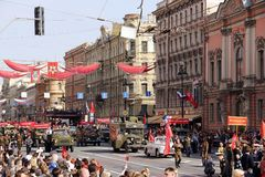 May 9 parade on Nevsky prospect stock photos