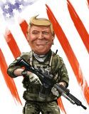 Patriot themed cartoon portrait of Donald Tump - Illustrated by Stock Images
