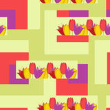 May pattern. With red and violet tulips Royalty Free Stock Photography