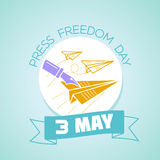3 may Press Freedom Day. Calendar for each day on may 3. Greeting card. Holiday - Press Freedom Day. Icon in the linear style Stock Photos