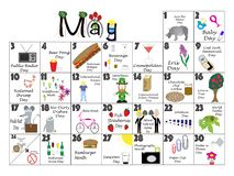 May 2020 Quirky Holidays and Unusual Celebrations Calendar. May 2020 calendar illustrated with daily Quirky Holidays and Unusual Celebrations royalty free illustration