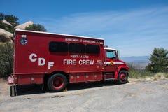 California Department of Corrections Puerta La Cruz prison Fire Crew truck is parked on the side. RAMONA CALIFORNIA: California Department of Corrections Puerta stock image