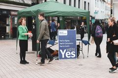 A stand promoting the Yes vote for the 25th of May referendum regarding the issue of abortion. May 3rd, 2018, Cork, Ireland - a stand promoting the Yes vote for Stock Image