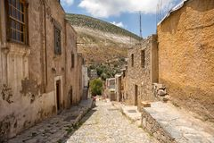 May 22, 2014 Real de Catorce, Mexico: narrow cobblestone streets. And mostly abandoned stone buildings all through the town once known for silver mining Royalty Free Stock Image