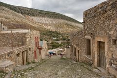 Real de Catorce Mexico abandoned silver town in Mexico. May 22, 2014 Real de Catorce, Mexico: narrow cobblestone streets and mostly abandoned stone buildings all Royalty Free Stock Images