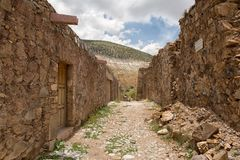 Stone built houses in Real de Catorce Mexico. May 22, 2014 Real de Catorce, Mexico: the stone built houses along the cobblestone streets are mostly abandoned an Stock Photo