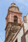 Church tower in Real de Catorce Mexico. May 22, 2014 Real de Catorce, Mexico: thousands of pilgrims visit the Parish of Immaculate Conception the week around the Stock Images