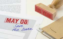 May 08. A red stamp on a document - May 08 Stock Photo