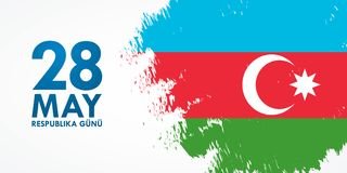 28 May Respublika gunu. Translation from azerbaijani: 28th May R. Epublic day of Azerbaijan. 100th anniversary Royalty Free Illustration