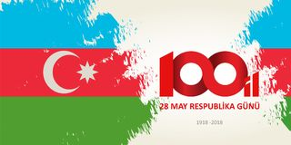 28 May Respublika gunu. Translation from azerbaijani: 28th May R. Epublic day of Azerbaijan. 100th anniversary stock illustration