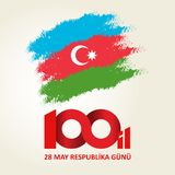 28 May Respublika gunu. Translation from azerbaijani: 28th May R. Epublic day of Azerbaijan. 100th anniversary Vector Illustration