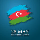 28 May Respublika gunu. Translation from azerbaijani: 28th May Republic day of Azerbaijan.  Stock Illustration