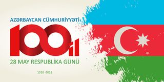 28 May Respublika gunu. Translation from azerbaijani: 28th May R. Epublic day of Azerbaijan. 100th anniversary Royalty Free Stock Images