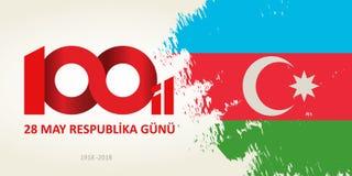 28 May Respublika gunu. Translation from azerbaijani: 28th May R. Epublic day of Azerbaijan. 100th anniversary Royalty Free Stock Photos