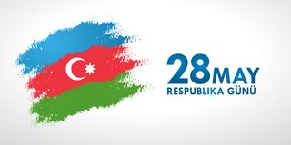 28 May Respublika gunu. Translation from azerbaijani: 28th May R. Epublic day of Azerbaijan. 100th anniversary Royalty Free Stock Photo